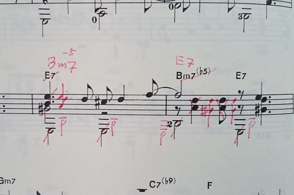ボサノバの楽譜を訂正