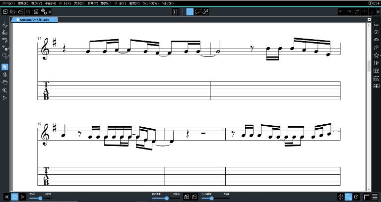 メロディー譜とタブ譜