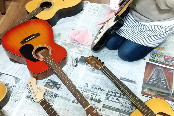 アズール・ギター教室で弦交換